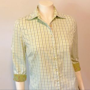 Robert Graham Green Gingham Plaid Top M